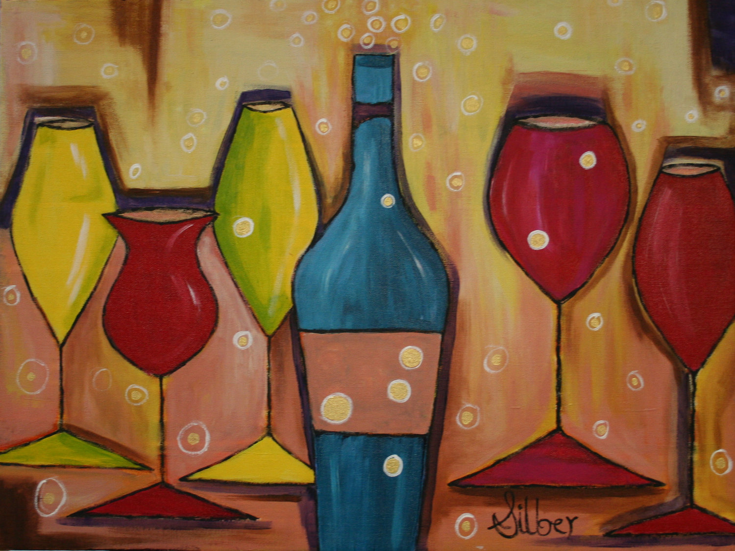 Autumn wine glass painting at the worthen house howl for Wine bottle artwork